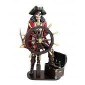 Piratenskelett mit Truhe für Wein und Steuer rot