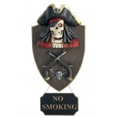 Piratenskelett mit Pistolen Wanddeko mit *No Smoking*Schild