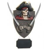Piratenskelett mit Schwertern und Angebotsschild Wanddeko