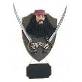 Pirat Blackbeard mit Schwertern und Angebotsschild Wanddeko