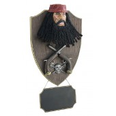 Pirat Blackbeard mit Pistolen und Angebotsschild Wanddeko