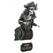 Piratenskelett Oberkörper auf Kapitell mit Tavern-Schild