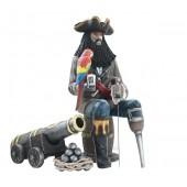 Pirat Blackbeard auf Weinfass mit Kanone
