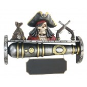 Kanonenregal mit Piratenbüste und Angebotsschild