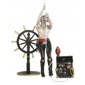 Piratenfrau kletternd, Steuer und Schatztruhe