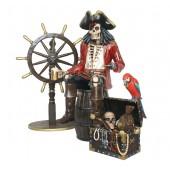 Piratenskelett auf Weinfass mit Steuer und Schatztruhe