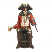 Piratenskelett auf Weinfass