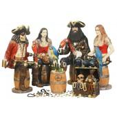 Piraten auf Weinfässern mit Weinhalterung und Schatztruhe