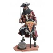 Pirat Blackbeard mit Pizzaschild
