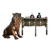 Weinfass Wandtisch mit Löwen