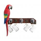 Garderobe Piratenhaken mit Trinkglashaken und Papagei