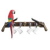Garderobe Piratenhaken mit Trinkglashaken, Pistolen und Papagei