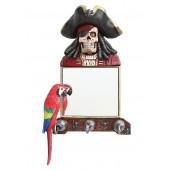 Piratenskelett Spiegel und Garderobe mit Papagei