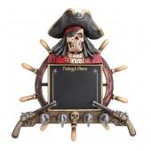 Piratenskelett Angebotstafel und Garderobe mit Steuer und Pistol