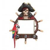 Piratenskelett Spiegel mit Steuer und Papagei