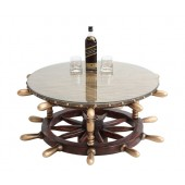 Schiffssteuer liegend Tisch mit Holz und Glasplatte Rund