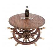 Schiffssteuer Tisch mit Holz und Glasplatte Rund