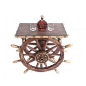 Schiffssteuer Tisch mit Holz und Glasplatte Eckig