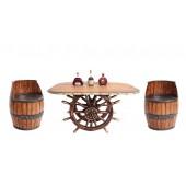 Schiffssteuer Tisch mit Holzplatte Oval und Weinfasssitzen