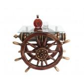 Schiffssteuer und Kanone Tisch mit Glasplatte Eckig