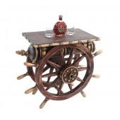 Schiffssteuer und Kanone Tisch mit Holzplatte Eckig