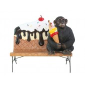 Eiscremebank mit Affen