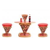 Pizzatisch und Pizzahocker 1 Pizzastück