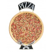 Ganze Pizza Einseitig mit Messer und Gabel mit Pizzaschild
