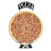 Ganze Pizza Zweiseitig mit Messer und Gabel mit Pizzaschild