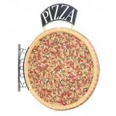 Ganze Pizza Zweiseitig mit Pizzaschild für Wand