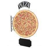 Ganze Pizza Einseitig mit Pizza und Angebotsschild für Wand