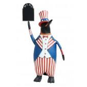 Pinguin Amerika mit Menüschild