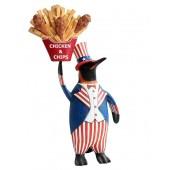Pinguin amerika mit Hühnchen und Pommes