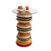 3 Burger Tisch mit Glasplatteplatte