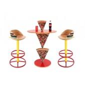 Pizzatisch 2 Pizzastücke mit Burger Barhockern