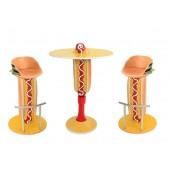 Hot Dog Tisch auf Ständer und Hot Dog Burger Sitze