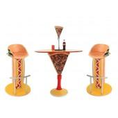 Tisch mit Pizzaständer und Hot Dog Burger Sitze