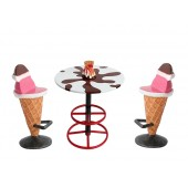Eistisch auf Ständer und Eissitze