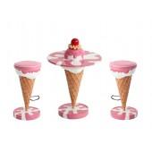 Eistisch Rosa mit Kirsche und Eishocker Rosa