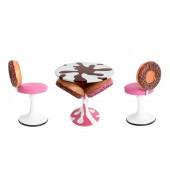 Eiscremetisch mit Donuts und Donutstühle