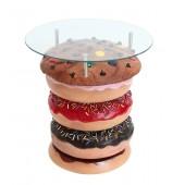 Donuttisch mit Keks und Glasplatte