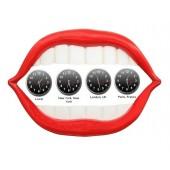 Rote Lippen und weiße Zähne Weltuhren