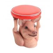Schweinehocker mit rotem Polster