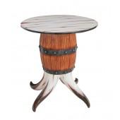 Stierhorn und Weinfass Tisch klein
