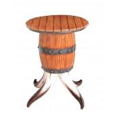 Stierhorn und Weinfass Tisch mit Holzplatte