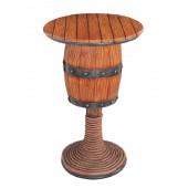 Weinfasstisch mit Seilen und Holzplatte