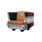 Sitz Chevy Schwarz mit roten Flammen und braunem Polster