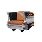 Sitz Chevy Schwarz mit orangenen Flammen und braunem Polster