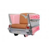 Sitz Chevy Rosa mit pinken Flammen und braunem Polster