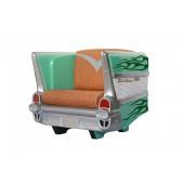 Sitz Chevy Grün mit dunkelgrünen Flammen und braunem Polster